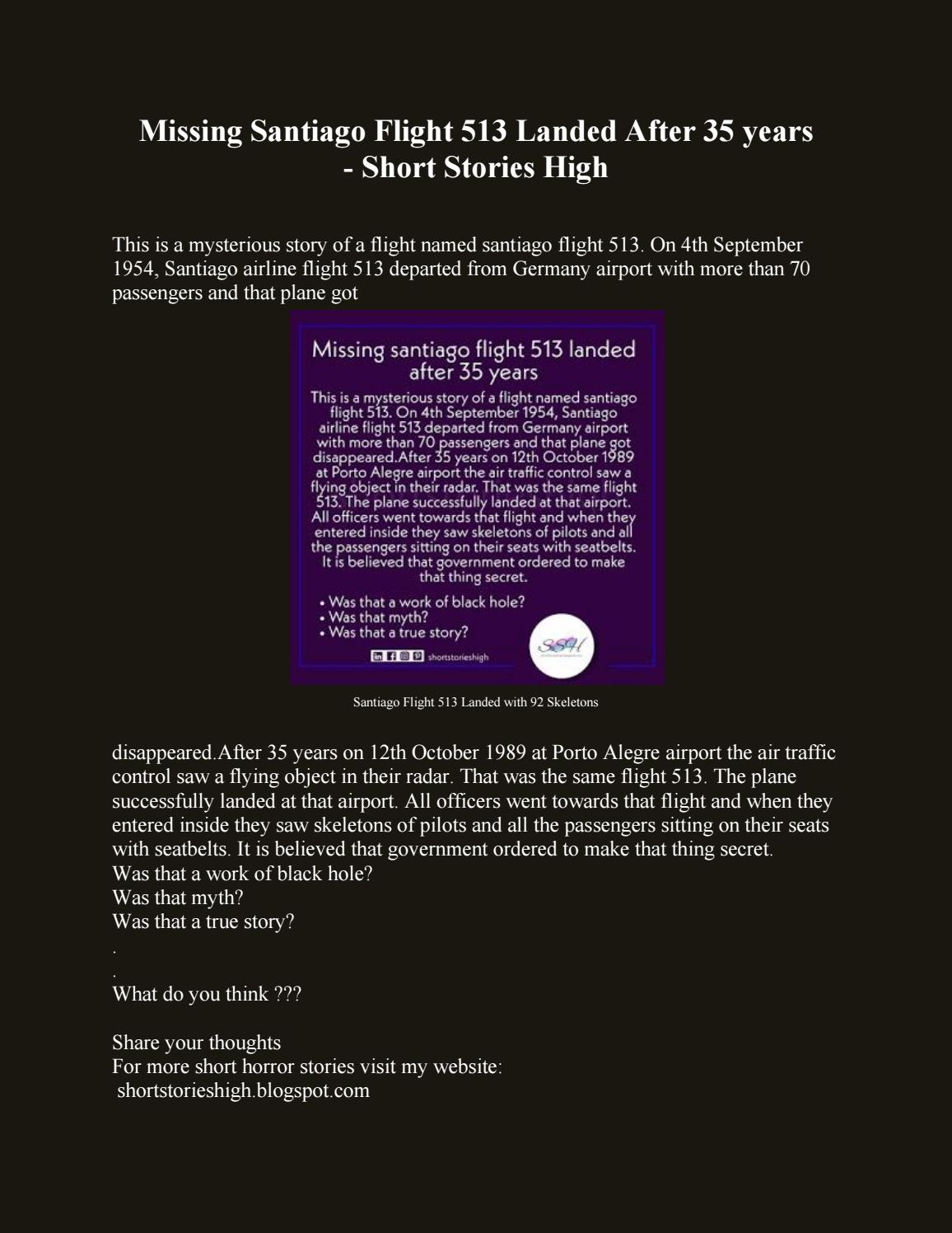 Missing Santiago Flight 513 Landed After 35 Years Short Stories High By Short Stories High Issuu
