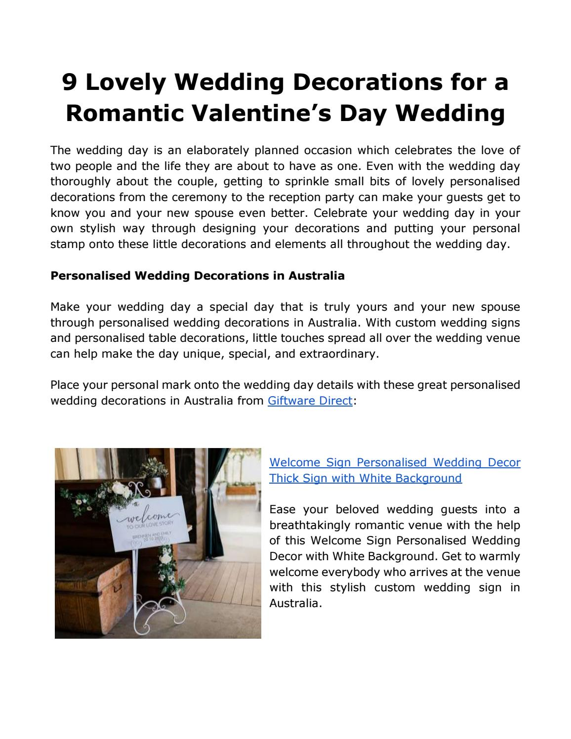 9 Lovely Wedding Decorations For A Romantic Valentine S Day Wedding By Giftware Direct Issuu