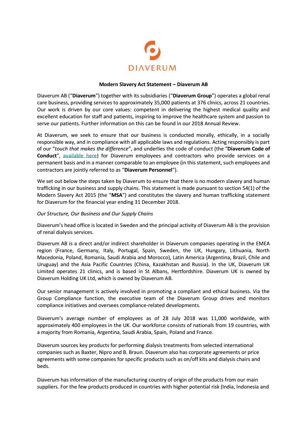 Modern Slavery and Human Trafficking Statement