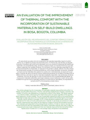 Page 33 of AN EVALUATION OF THE IMPROVEMENT OF THERMAL COMFORT WITH THE INCORPORATION OF SUSTAINABLE MATERIALS IN SELF-BUILD DWELLINGS IN BOSA, BOGOTA, COLUMBIA