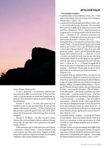 Page 41 of Apologétique LA PREDESTINATION (II). Dieu