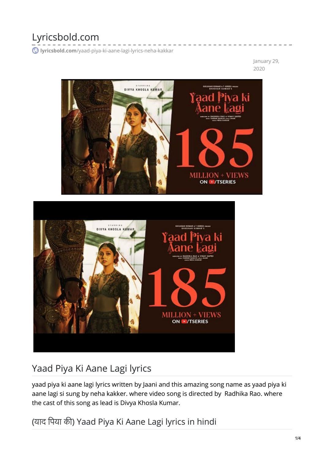 Yaad Piya Ki Aane Lagi Lyrics By Swarajsirsat123 Issuu