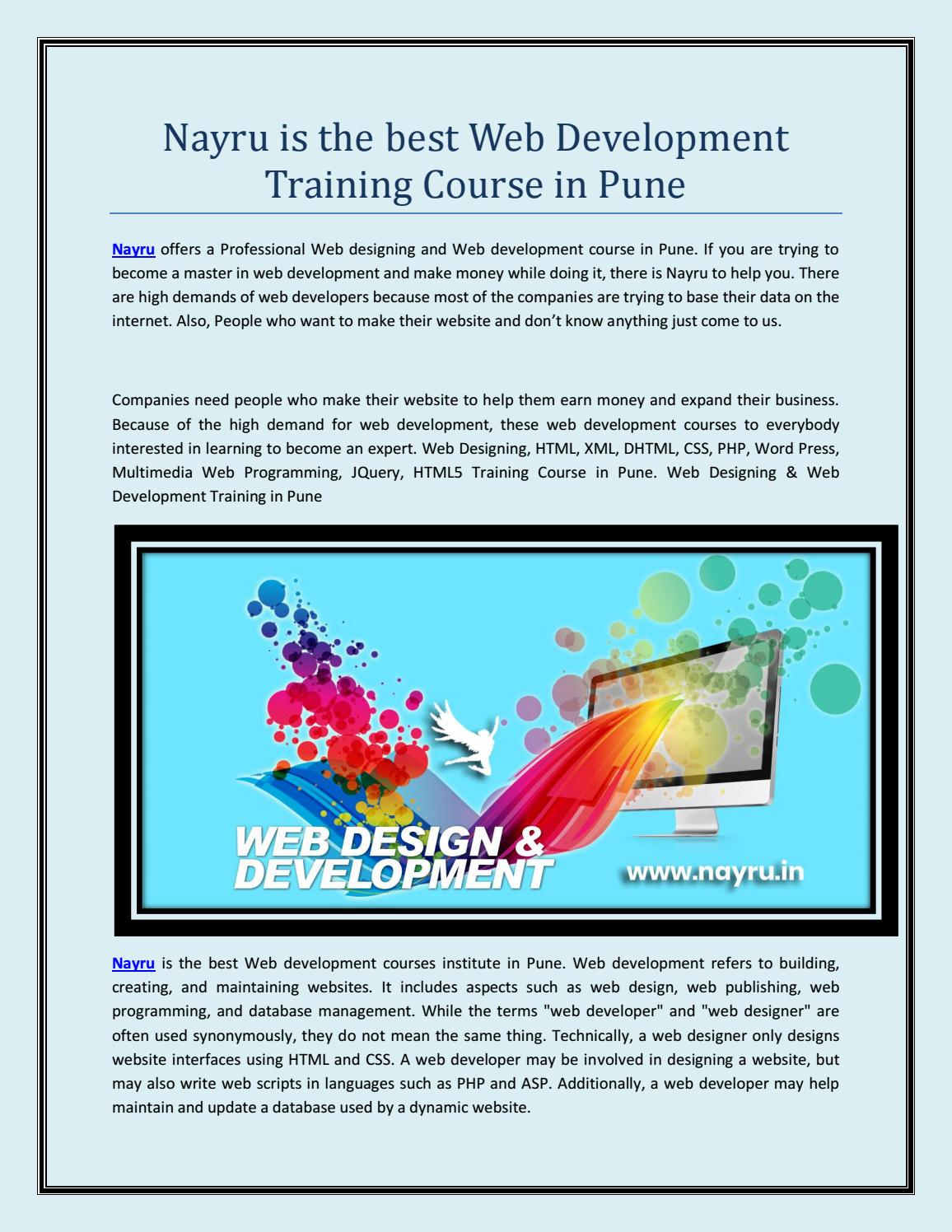 Nayru Is The Best Web Development Training Course In Pune By Nayrudesign Issuu