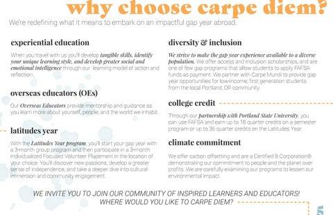 Page 5 of why choose carpe diem?