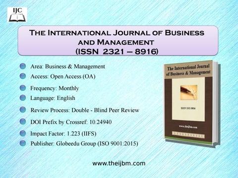 The International Journal Of Business And Management By Internationaljournalcornerijc Issuu