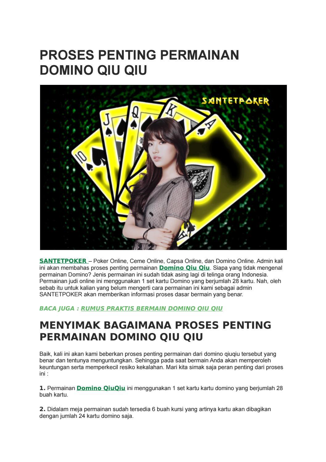 Proses Penting Permainan Domino Qiu Qiu By Santetpoker Poker Online Ceme Online Capsa Online Domino Online Issuu