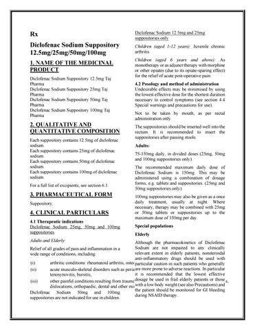 Diclofenac Sodium 12 5mg 25mg 50mg 100mg Suppositories Taj Pharma Smpc By Qc Taj Pharma Issuu