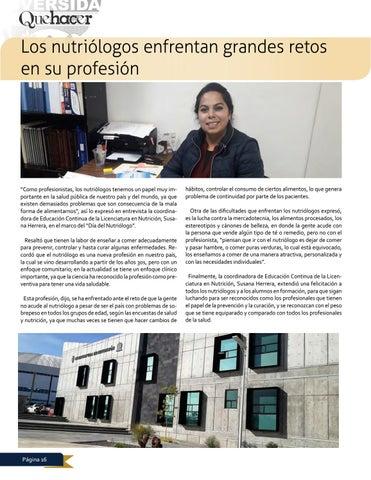 Page 16 of Los nutriólogos enfrentan grandes retos en su profesión