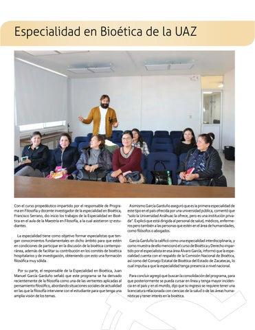 Page 6 of Especialidad en Bioética de la UAZ