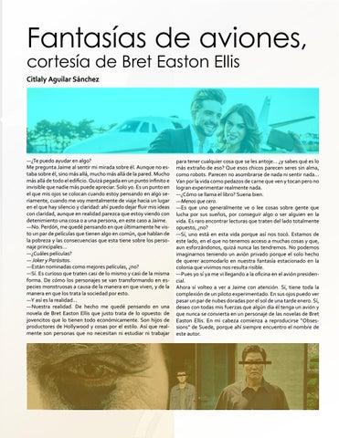 Page 7 of Fantasías de aviones, cortesía de Bret Easton Ellis