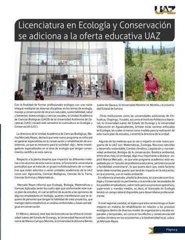 Page 9 of Licenciatura en Ecología y Conservación se adiciona a la oferta educativa UAZ