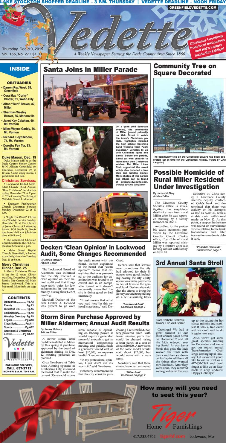 Greenfield Vedette December 18 2019 By Gina Langston Issuu