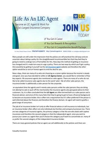 Lic Agent Job Lic Career Lic Salary And Benefits Lic Job In Hyderabad By Joinaslicagents Issuu
