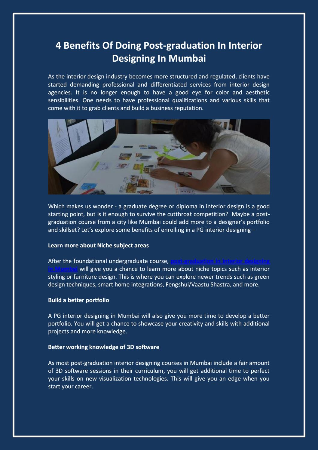 4 Benefits Of Doing Post Graduation In Interior Designing In Mumbai By Geshu Jain Issuu