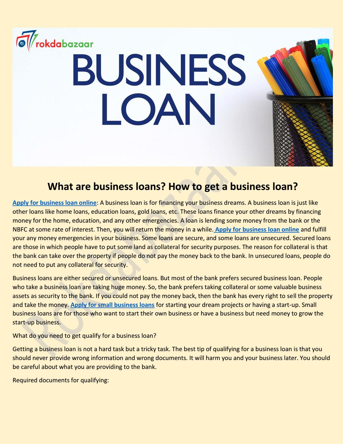 What Are Business Loans How To Get A Business Loan By Rokdabazaar Issuu