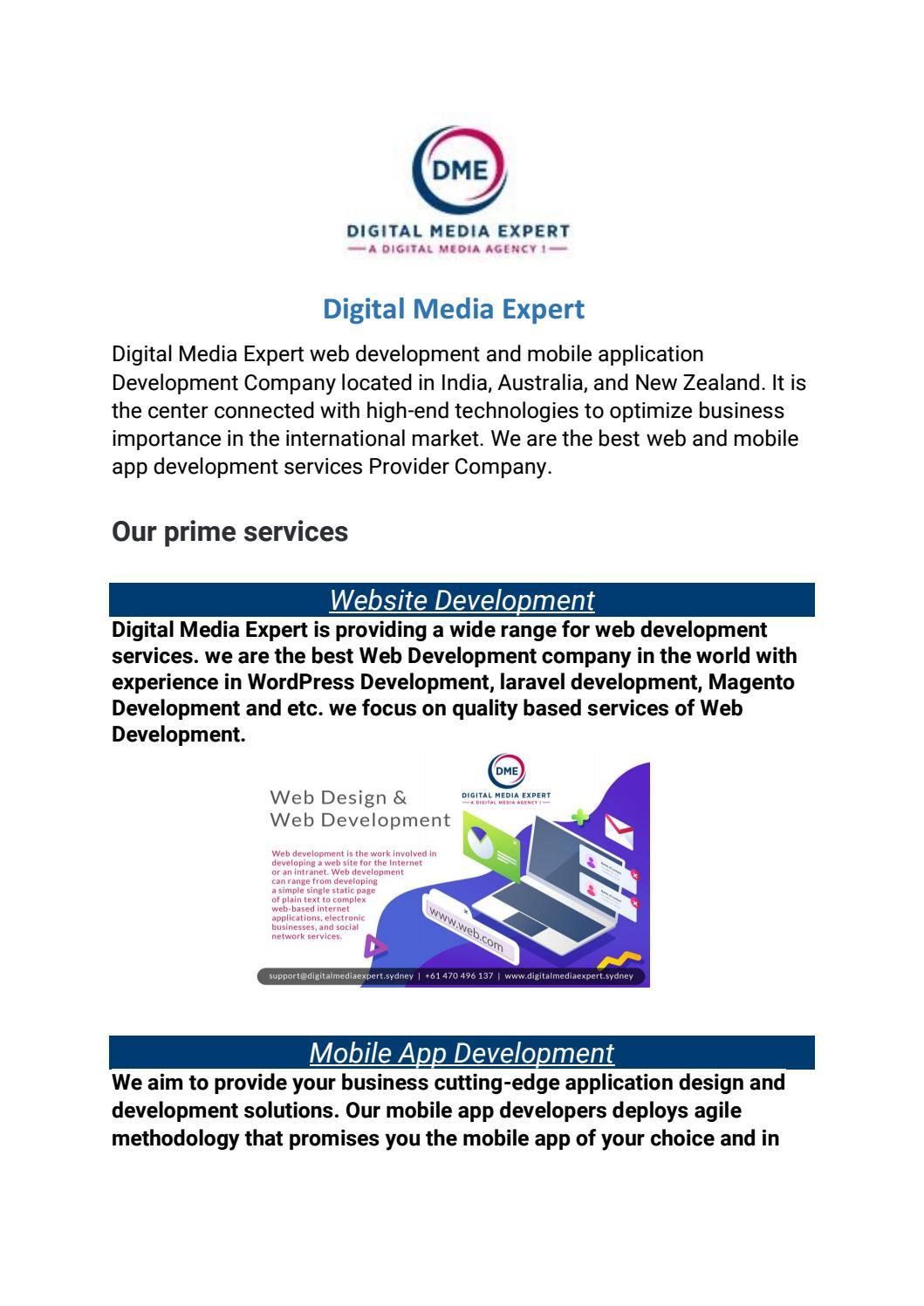 Web And Mobile App Development Company In Australia By Digitalmediaexpert Issuu