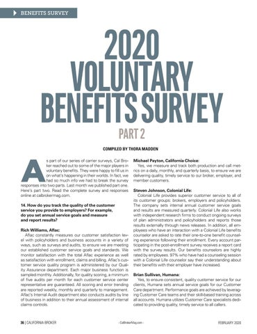 Page 36 of 2020 VOLUNTARY BENEFITS SURVEY PART 2