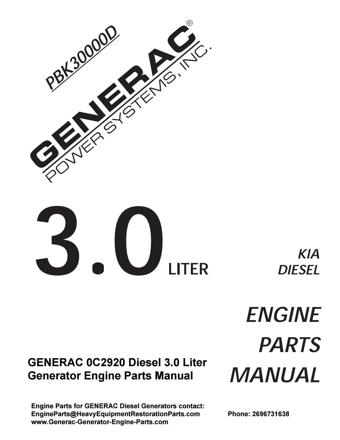 Generac 0c2920 Diesel 3 0 Liter Engine Parts Manual By