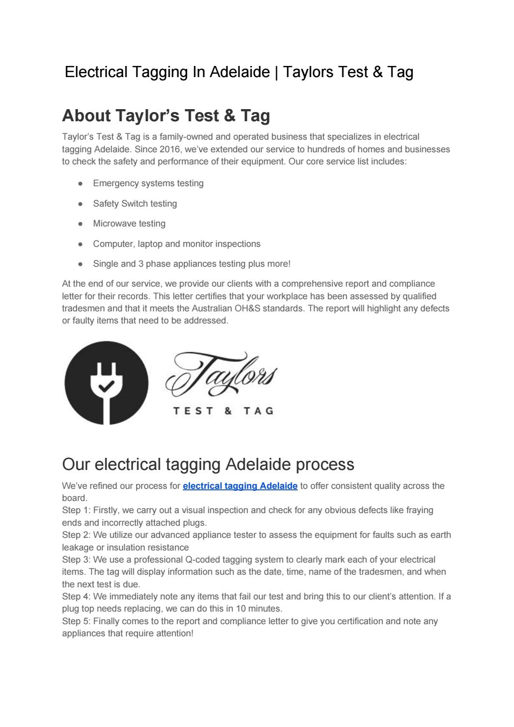 Electrical Tagging In Adelaide Taylors Test Tag By Taylors Test Tag Issuu