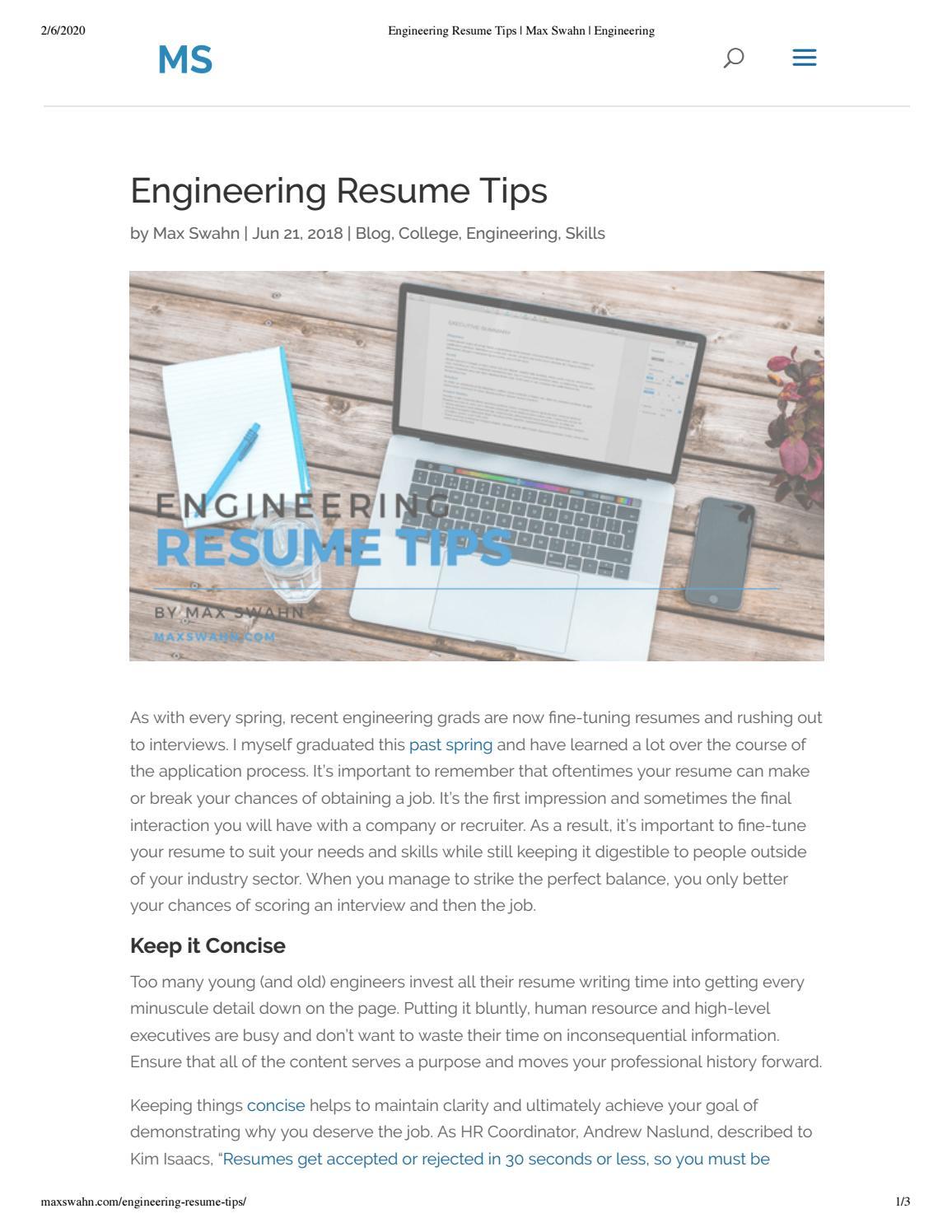 Engineering Resume Tips By Max Swahn Issuu