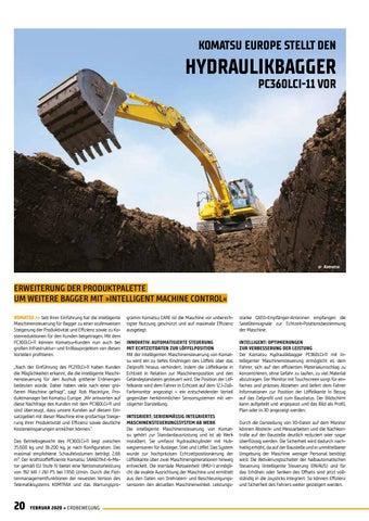 Page 20 of Komatsu Europe stellt den Hydraulikbagger PC360LCI-11 vor