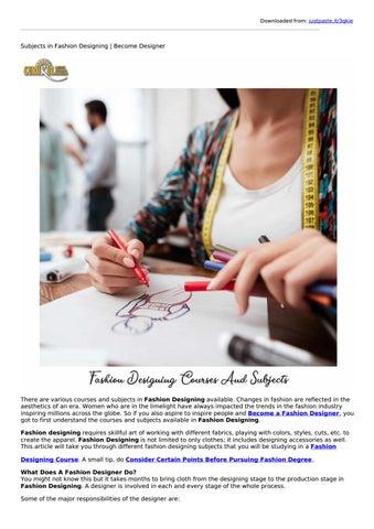 Diploma In Fashion Designing Subjects In Fashion Designing By Gurukulintitution Issuu