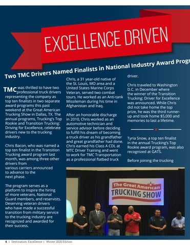 Page 4 of Excellence Driven: Two TMC Drivers Named Finalists in National Industry Award Programs