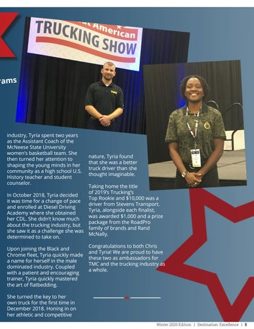 Page 5 of Excellence Driven: Two TMC Drivers Named Finalists in National Industry Award Programs