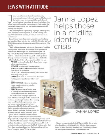 Page 13 of JEWS WITH ATTITUDE Janna Lopez helps those in a midlife identity crisis