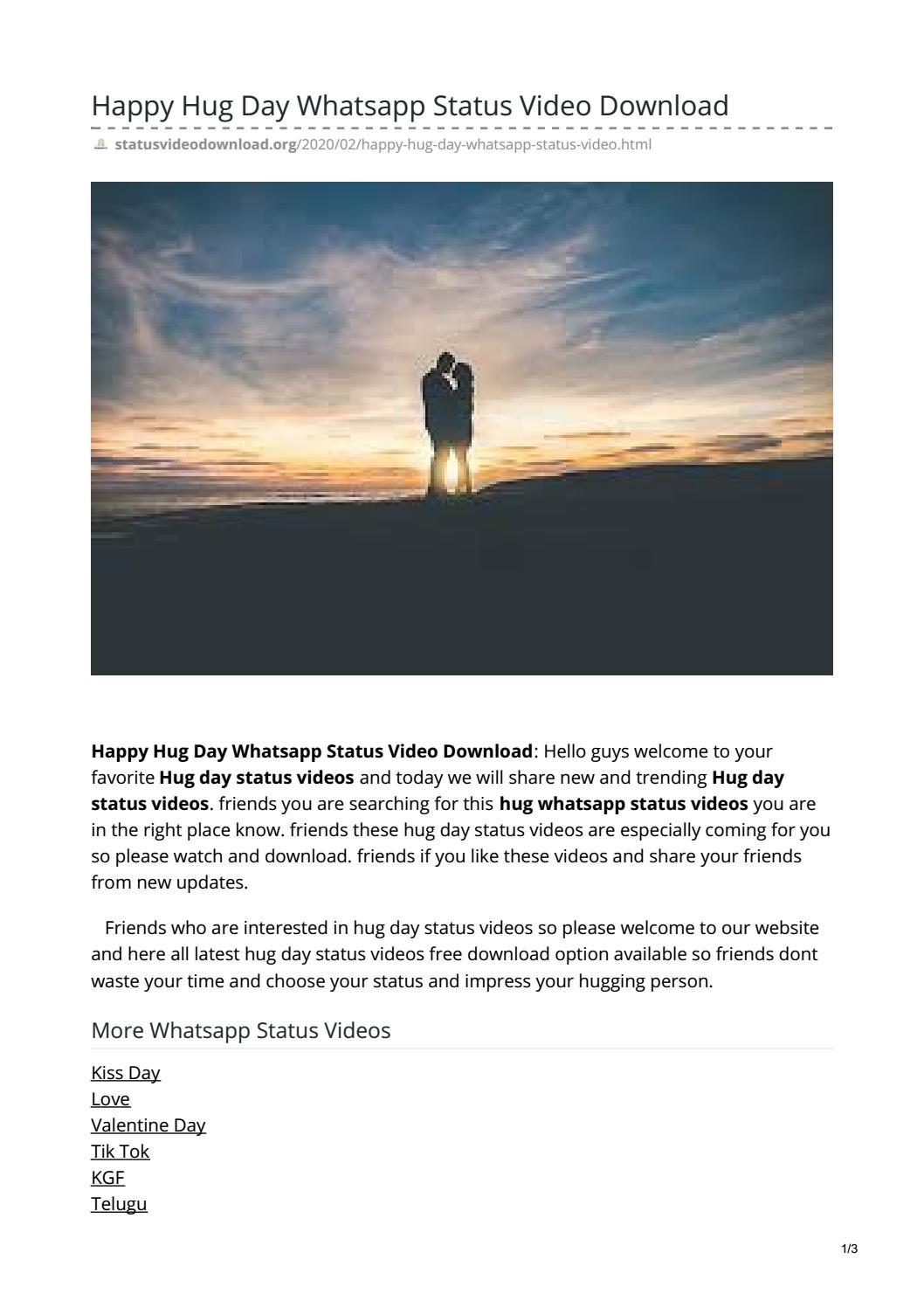 Happy Hug Day Whatsapp Status Video Download by rameshiraboina123 - issuu