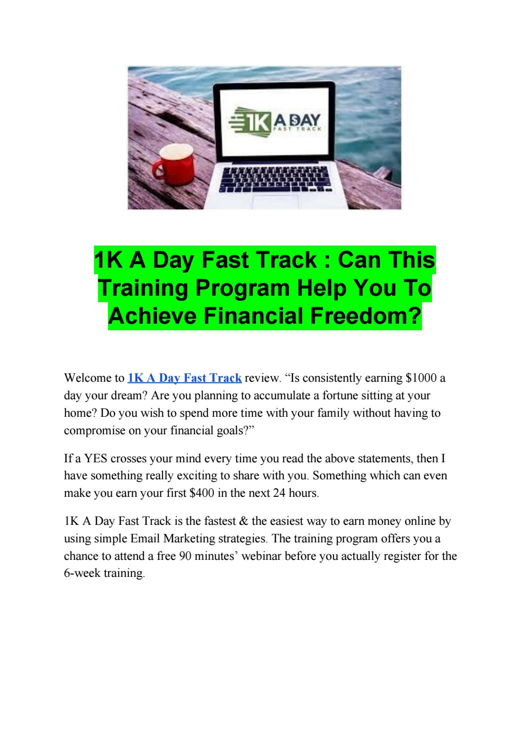 1k A Day Fast Track Training Program Warranty Register