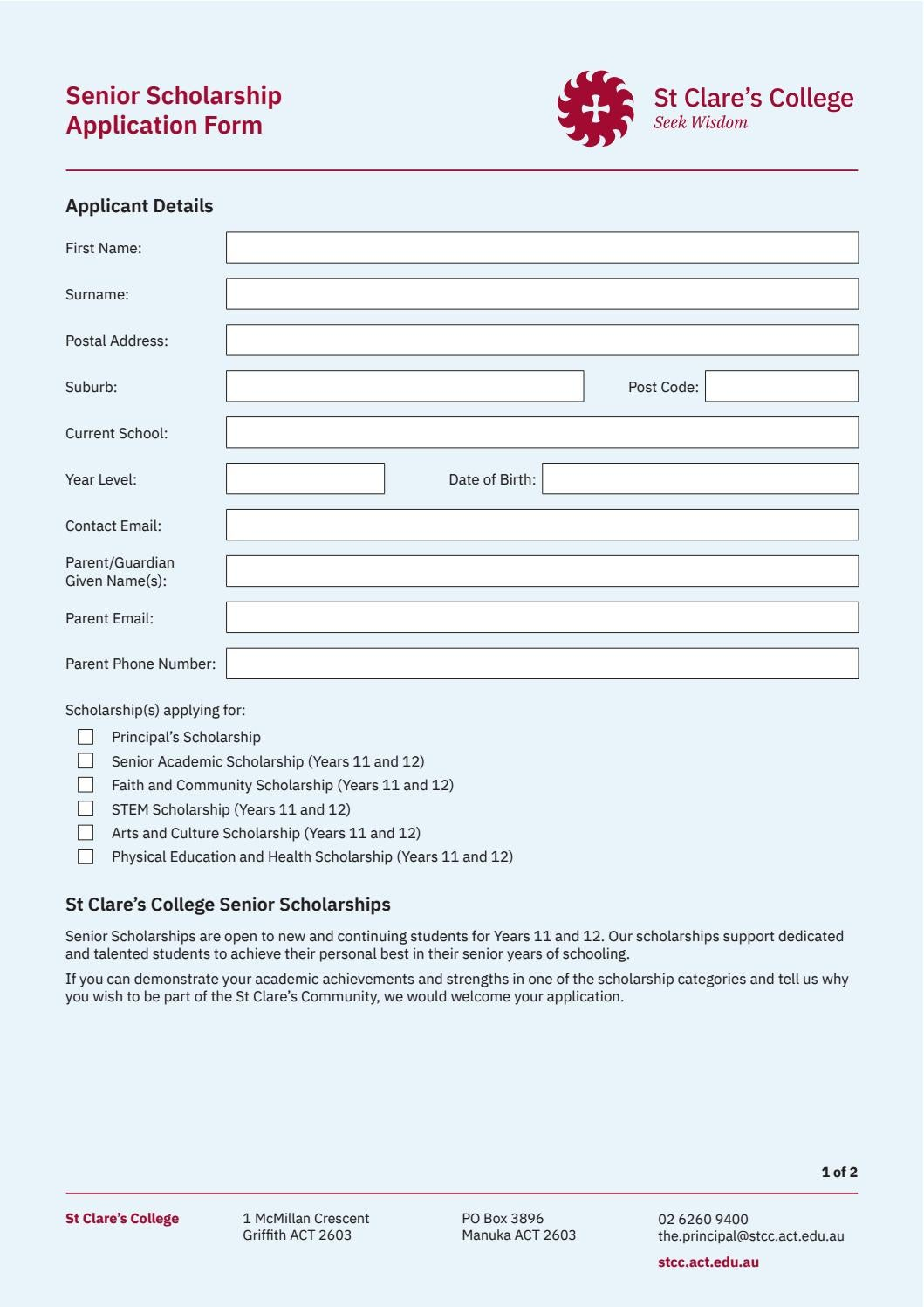 Senior Scholarship Application Form