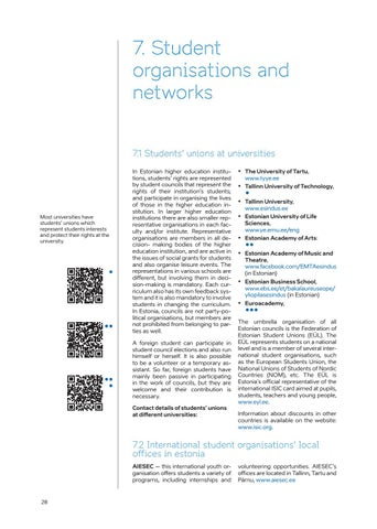 Page 28 of 7. Student organisations and networks
