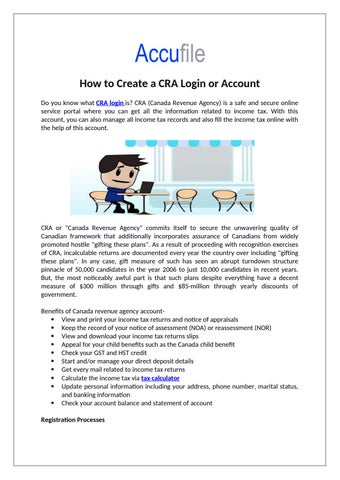How To Create A Cra Login Or Account By Accufile Issuu