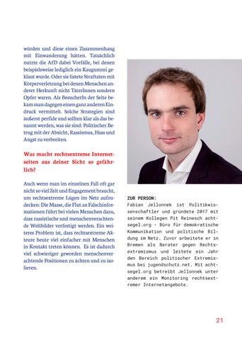 Page 21 of TATSÄCHLICH IST DAS INTERNET FÜR DIE RECHTSEXT REME SZENE LÄNGST DAS WICHTIGSTE PROPAGANDAMEDIUM GEWORDEN