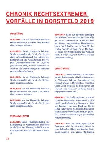 Page 28 of CHRONIK RECHTSEXTREMER VORFÄLLE IN DORSTFELD 2019