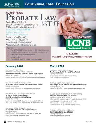 Page 12 of FEBRUARY/MARCH CONTINUING LEGAL EDUCATION