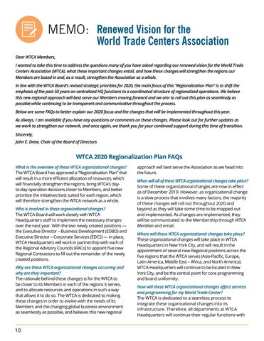 Page 10 of MEMO: Renewed Vision for the World Trade Centers Association