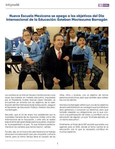 Page 3 of Nueva Escuela Mexicana se apega a los objetivos del Día Internacional de la Educación: Esteban Moctezuma Barragán