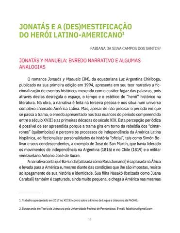 Page 13 of JONATÁS E A (DES)MESTIFICAÇÃO DO HERÓI LATINO-AMERICANO Fabiana da Silva Campos dos Santos