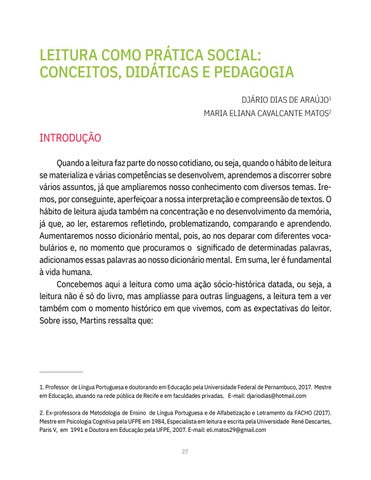 Page 27 of LEITURA COMO PRÁTICA SOCIAL: CONCEITOS, DIDÁTICAS E PEDAGOGIA Djário Dias de Araújo Maria Eliana Cavalcante Matos