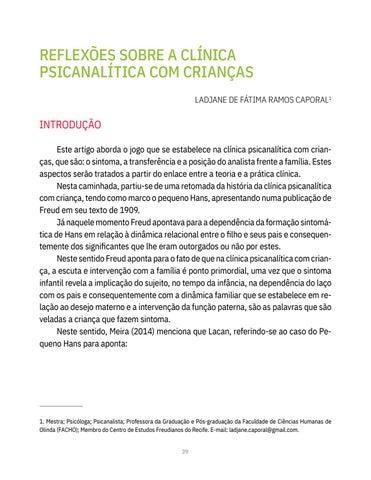 Page 39 of REFLEXÕES SOBRE A CLÍNICA PSICANALÍTICA COM CRIANÇAS Ladjane de Fátima Ramos Caporal