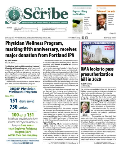 Page 1 of MSMP's Physician Wellness Program