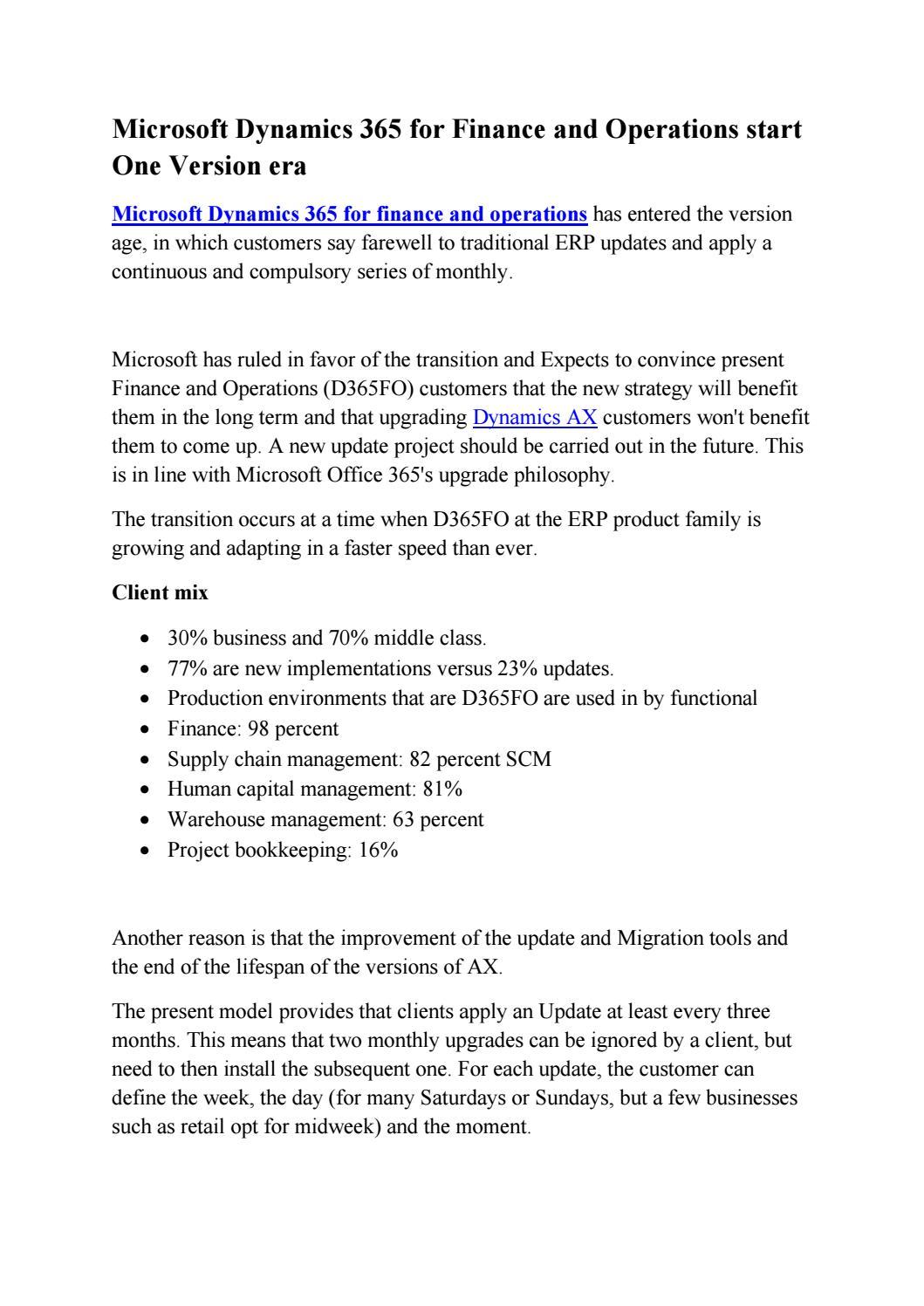 Microsoft Dynamics 365 For Finance And Operations Start One Version Era By Sunbridge India Issuu