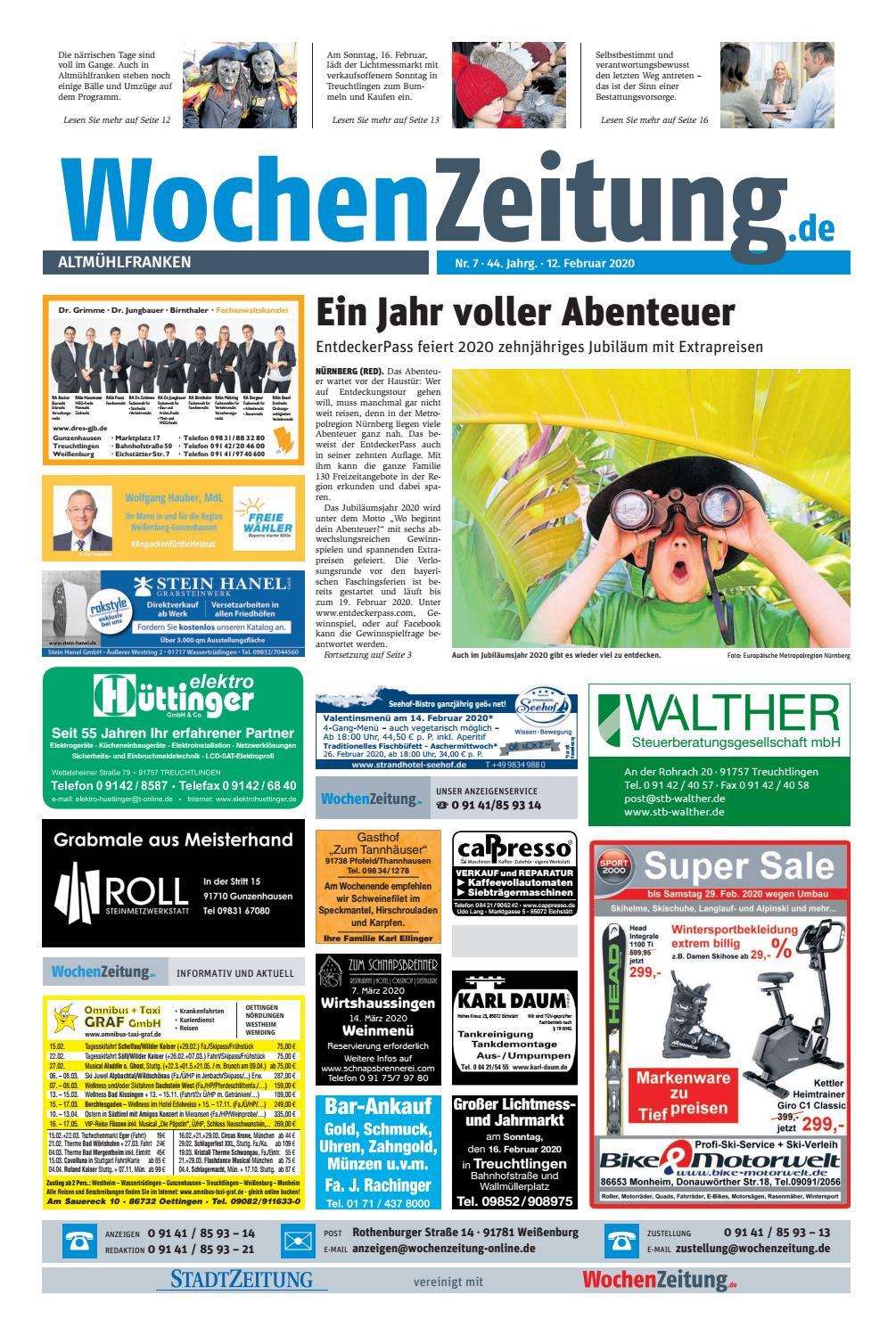 Wochenzeitung Altmuehlfranken Kw 07 20 By Wochenzeitung Sonntagszeitung Issuu