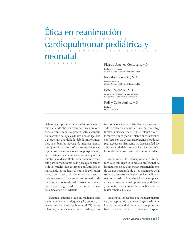 Ética en reanimación cardiopulmonar pediátrica y neonatal by ...