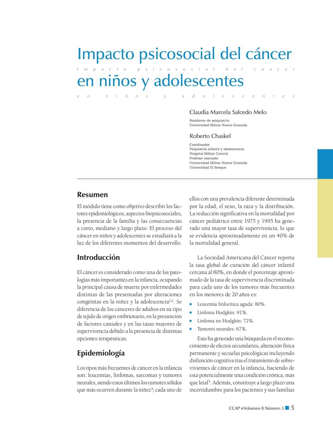 Impacto Psicosocial Del Cáncer En Niños Y Adolescentes By Sociedad Colombiana De Pediatría Issuu