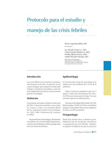 Protocolo Para El Estudio Y Manejo De Las Crisis Febriles By Sociedad Colombiana De Pediatría Issuu