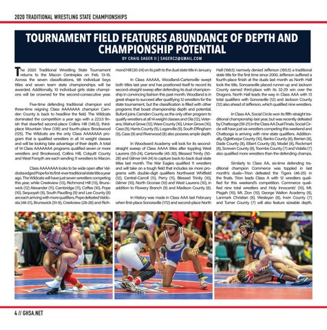 Page 4 of BY CRAIG SAGER II | SAGERC2@GMAIL .COM TOURNAMENT FIELD FEATURES ABUNDANCE OF DEPTH AND CHAMPIONSHIP POTENTIAL