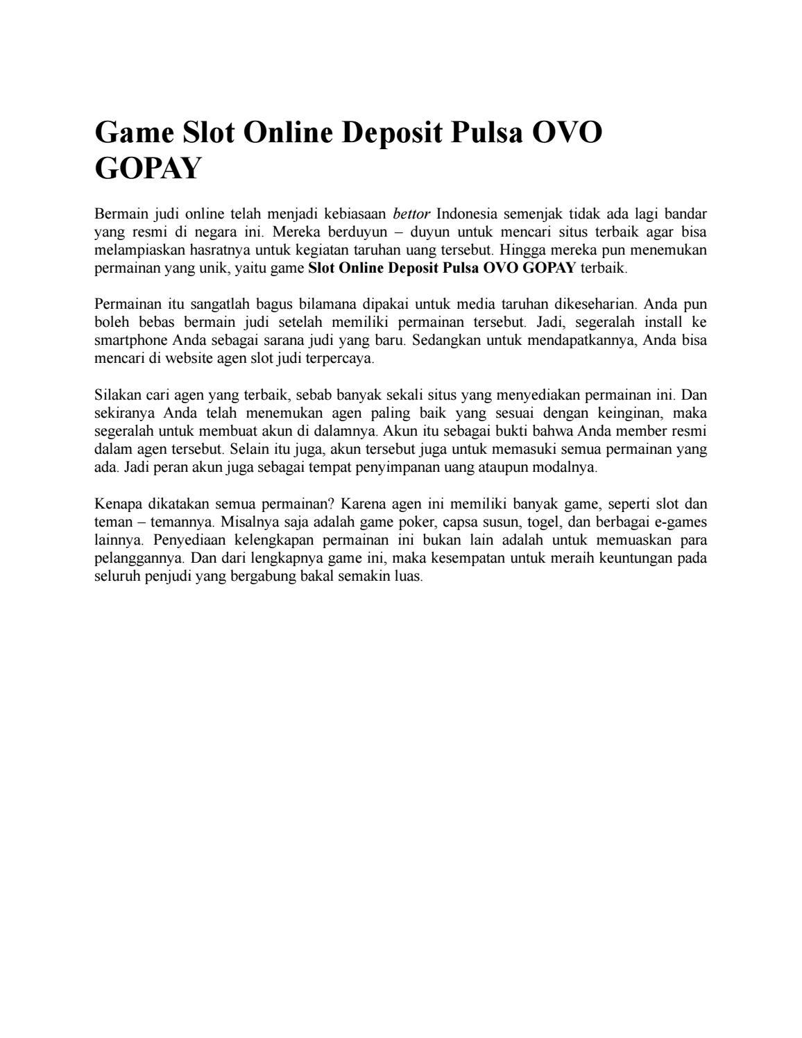 Game Slot Online Deposit Pulsa Ovo Gopay By Vivinovisaa1188 Issuu